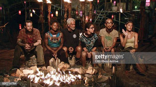Now's the Time to Start Scheming Kyle Jason Cydney Gillon Joseph Del Campo Aubry Bracco Tai Trang and Michele Fitzgerald at Tribal Council during the...