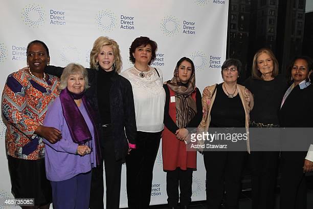 Nozizwe MadlalaRoutledge Robin Morgan Jane Fonda Mouna Ghanem Najia Karimi Jessica Neuwirth Gloria Steinem and Hibaaq Osman attend the launch party...