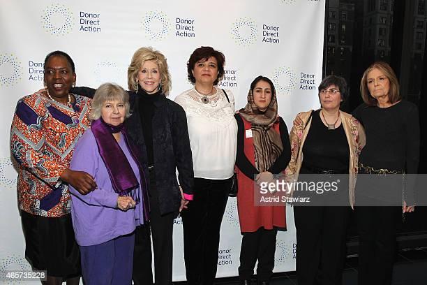 Nozizwe MadlalaRoutledge Robin Morgan Jane Fonda Mouna Ghanem Najia Karimi Jessica Neuwirth and Gloria Steinem attend the launch party of Donor...