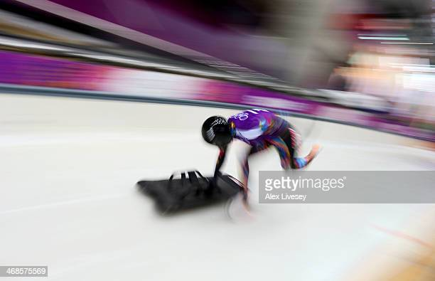 Nozomi Komuro of Japan makes a run during a Women's Skeleton training session on Day 4 of the Sochi 2014 Winter Olympics at the Sanki Sliding Center...