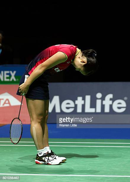 Nozomi Okuhara of Japan celebrates after beating Carolina Marin of Spain in the semi finals of the Women' s Singles match during day four of the BWF...