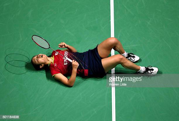 Nozomi Okuhara of Japan celebrates beating Yihan Wang of China to win the Women's Singles Final match on day five of the BWF Dubai World Superseries...