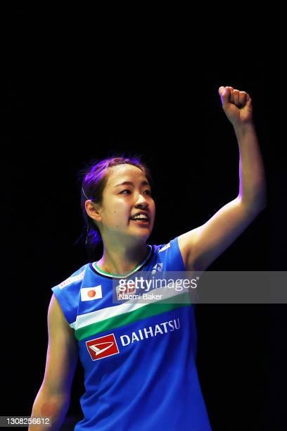 Nozomi Okuhara of Japan celebrates match point after her victory in the Women's single final against Pornpawee Chochuwong of Thailand during day five...