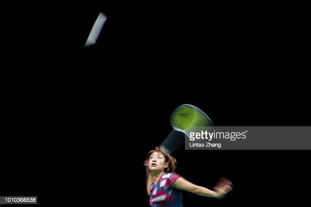 Nozomi Okuhara of Japan compete against Pusarla V Sindhu of India in their women's single quarter final match during the Badminton World...