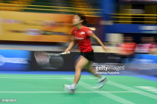 Nozomi Okuhara of Japan competes against He Bingjiao of China during Women's Team Final match between Japan and China in the EPlus Badminton Asia...