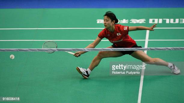 Nozomi Okuhara of Japan competes against Lee Chia Hsin of Chinese Taipei during Women's Team Quarterfinal match of the EPlus Badminton Asia Team...