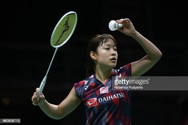 Nozomi Okuhara of Japan competes against Michelle Li of Canada during Preliminary Round on day two of the BWF Thomas Uber Cup at Impact Arena on May...