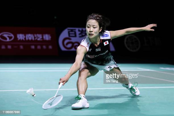 Nozomi Okuhara of Japan competes in the Women's Single final match against Chen Yufei of China on day six of the Fuzhou China Open at Haixia Olympic...