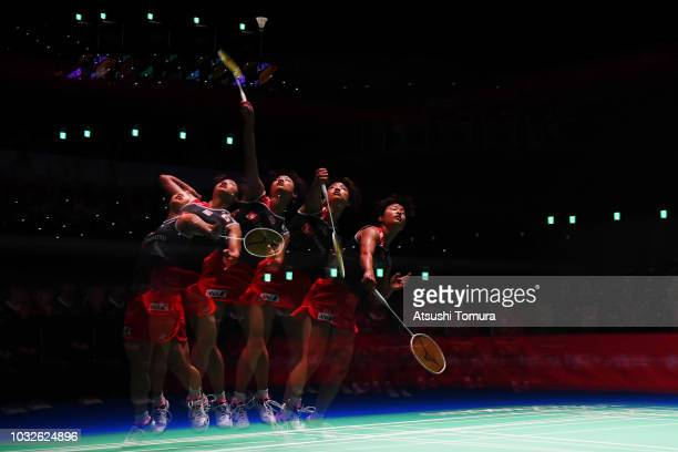 Nozomi Okuhara of Japan competes in the Women's Singles second round match against Sayaka Sato of Japan on day three of the Yonex Japan Open at...