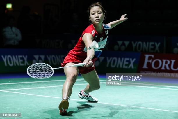 Nozomi Okuhara of Japan competes in the Women's Singles second round match against Mia Blichfeldt of Denmark during day three of the Yonex German...