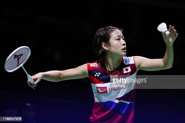 Nozomi Okuhara of Japan competes in the Women's Singles second round match against Nitchaon Jindapol of Thailand on day three of the Fuzhou China...