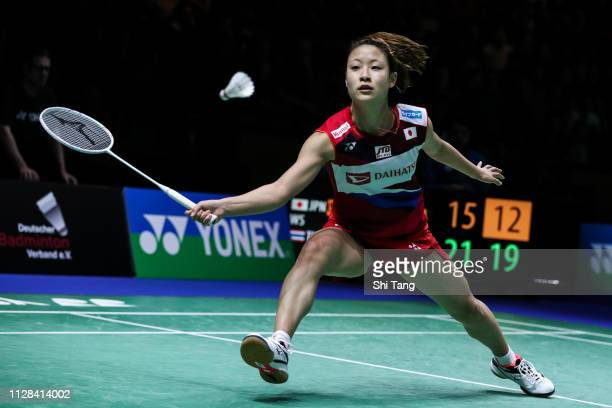 Nozomi Okuhara of Japan competes in the Women's Singles semi finals match against Ratchanok Intanon of Thailand during day five of the Yonex German...