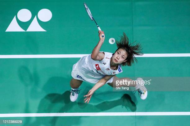 Nozomi Okuhara of Japan competes in the Women's Singles semi finals match against Chen Yufei of China on day four of the Yonex All England on March...