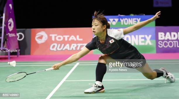 Nozomi Okuhara of Japan defeats India's Saina Nehwal in a women's singles semifinal at the world badminton championships in Glasgow on Aug 26 2017...