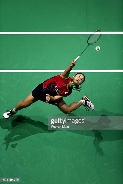 Nozomi Okuhara of Japan in actin against Yihan Wang of China during the Women's Singles Final match on day five of the BWF Dubai World Superseries...