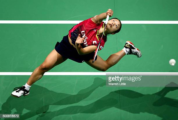 Nozomi Okuhara of Japan in action against Carolina Marin of Spain in the Women's Singles match during day three of the BWF Dubai World Superseries...