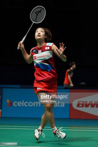 Nozomi Okuhara of Japan in action on day four of the Badminton Malaysia Open at Axiata Arena on April 05 2019 in Kuala Lumpur Malaysia