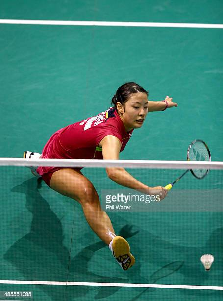 Nozomi Okuhara of Japan plays a backhand against Kana Ito of Japan in the womens final of the 2014 New Zealand Open at the North Shore Events Centre...