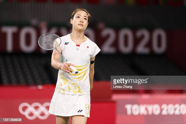 Nozomi Okuhara of Team Japan reacts as she competes against He Bing Jiao of Team China during a Women's Singles Quarterfinal match on day seven of...