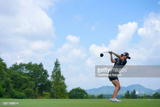 Nozomi Uetake of Japan hits her tee shot on the 6th hole during the first round of Rakuten Super Ladies at Tokyu Grand Oak Golf Club on July 29, 2021...