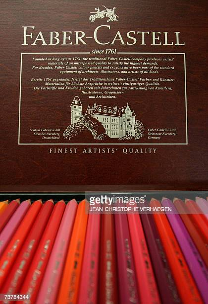 A box of coulouring pencils is displayed 16 March 2007 in Stein near Nuremberg at the FaberCastell plant at the headquarters of the German...