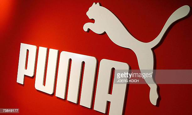 Picture taken 19 February 2007 shows the Logo of German sporting goods giant Puma at a press conference at the Puma Brand Center in Nuernberg,...