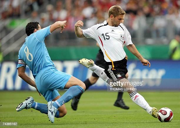 Germany's midfielder Thomas Hitzlsperger takes a shot on goal against San Marino's during their Euro 2008 qualifier match 02 June 2007 in Nuremberg...