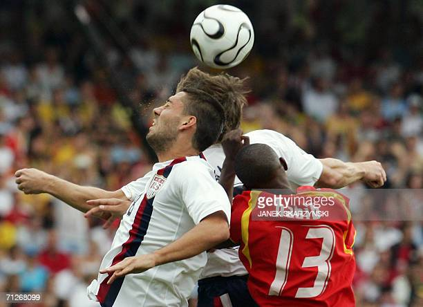 Ghanaian defender Habib Mohamed clashes with US midfielder Clint Dempsey during the opening round Group E World Cup football match between Ghana and...