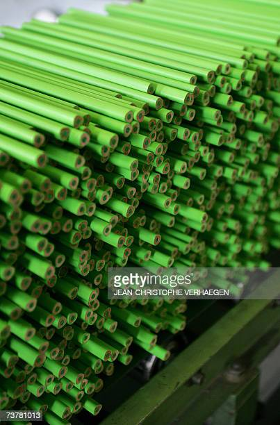 Green colouring pencils are seen 16 March 2007 in Stein near Nuremberg at the FaberCastell plant at the headquarters of the German manufacturer of...