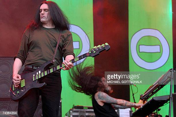 Peter Steele and Josh Silver of the band Type O Negative performs on stage 02 June 2007 during the music festival Rock am Ring in Nuremberg scheduled...