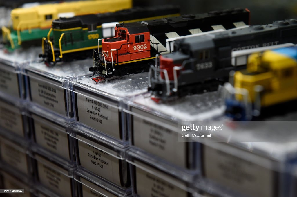N-scale locomotives on display at Caboose Hobbies on March 8, 2017 in Lakewood, Colorado. Caboose Hobbies, the 'world's largest model train shop,' has re-opened in Lakewood.