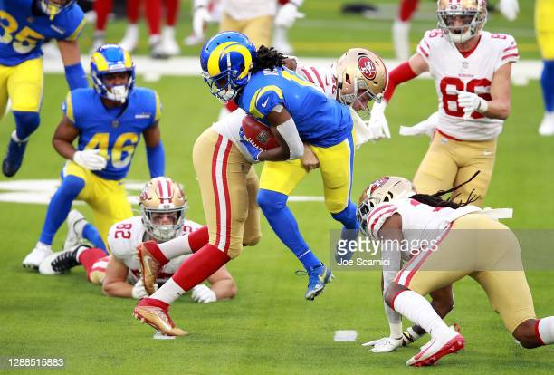 Nsimba Webster of the Los Angeles Rams runs with the ball during the second half against the San Francisco 49ers at SoFi Stadium on November 29, 2020...