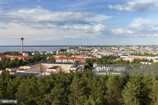näsinneula observation tower and the city of tampere, finland, viewed from above on a sunny day in the summer. - tampere finland stock pictures, royalty-free photos & images