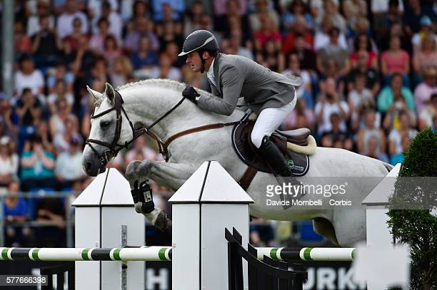 'nThe German rider winner Philipp Weishaupt riding Clooney 51 the Rolex Grand Prix of Aachen in 2016'nJuly 17 2016 in Aachen Germany