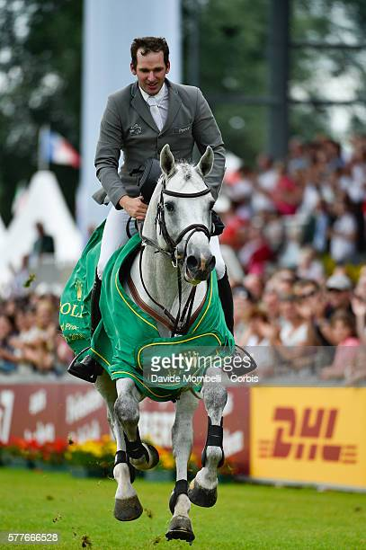 nThe German rider winner Philipp Weishaupt riding Clooney 51 the Rolex Grand Prix of Aachen in 2016nduring the prizegiving ceremonynJuly 17 2016 in...