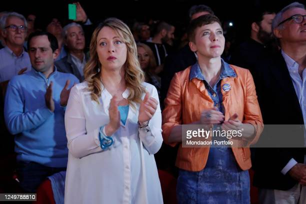 """""""nThe President of Fratelli d'Italia Party Giorgia Meloni, pregnant, and the former President of the Italian Lower Chamber Irene Pivetti attend the..."""
