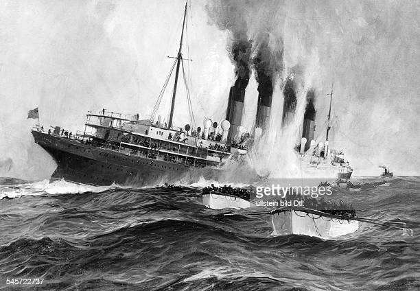 WORLD WAR I LUSITANIA /nThe sinking of the Cunard liner 'Lusitania' 7 May 1915 by a German submarine off the coast of Ireland during World War I
