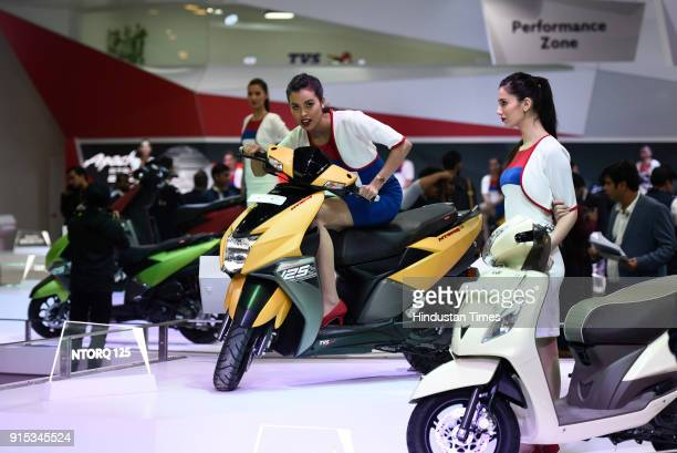 Ntorq 125 scooter on display during Auto Expo 2018 motor show at the India Expo Mart on February 7 2018 in Greater Noida India The Expo will include...