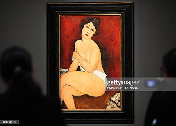 'Nu Assis sur un Divan' ' by Amedeo Modigliani is on display during a press preview of Sotheby's Impressionist and Modern Art Autumn sales in New...
