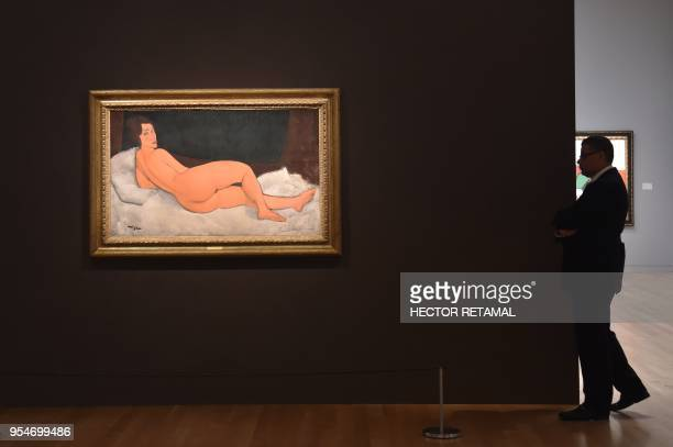 Nu Couche by Amedeo Modigliani is seen during a Sotheby's preview of the May Evening Sale of Impressionist and Modern Art in New York on May 4 2018...