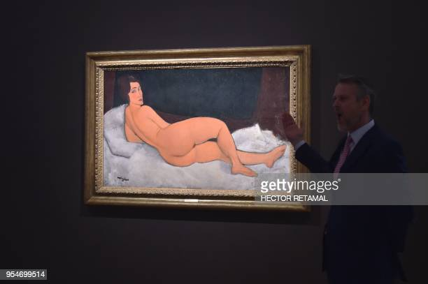 'Nu Couche' by Amedeo Modigliani is seen during a Sotheby's preview of the May Evening Sale of Impressionist and Modern Art in New York on May 4 2018...
