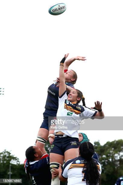 Nuala O'Conner of the Rebels and Michaela Leonard of the Brumbies compete for a line-out ball during the Super W match between the Melbourne Rebels...