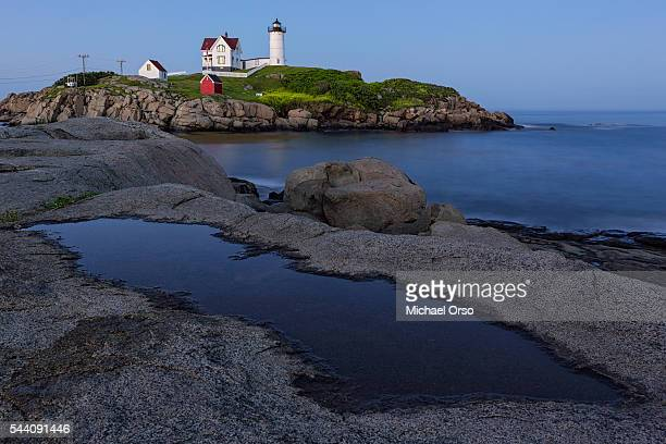 Nubble Light, Cape Neddick, York, Maine, lighthouse, east coast, atlantic ocean, blue sky, coastal geography