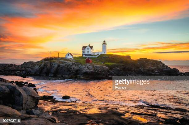 nubble light - maine stock pictures, royalty-free photos & images