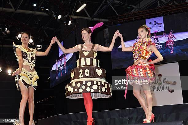 Nubia Esteban Sandra LouÊand Victoria Monfort attend the 'Salon Du Chocolat Chocolate Fair 20th Anniversary' At the Parc des Expositions Porte de...