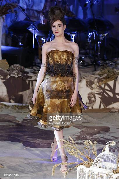 Nubia Esteban walks the runway during the Franck Sorbier Spring Summer 2017 show as part of Paris Fashion Week on January 25 2017 in Paris France