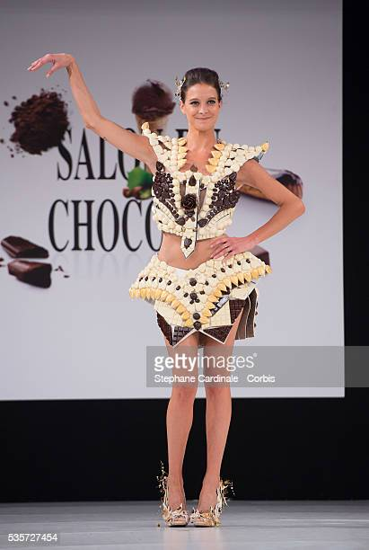 Nubia Esteban walks the runway during the 'Salon Du Chocolat' Fashion Show on October 29 2014 in Paris France