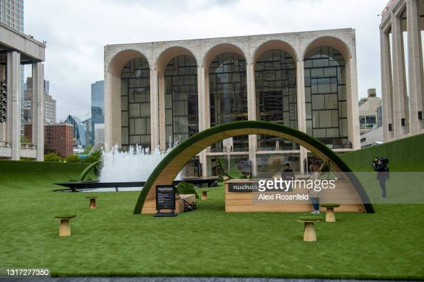 Nuchas food stand is set up at 'The Green' at Lincoln Center for the Performing Arts which opened on May 10, 2021 in New York City. Restart Stages at...