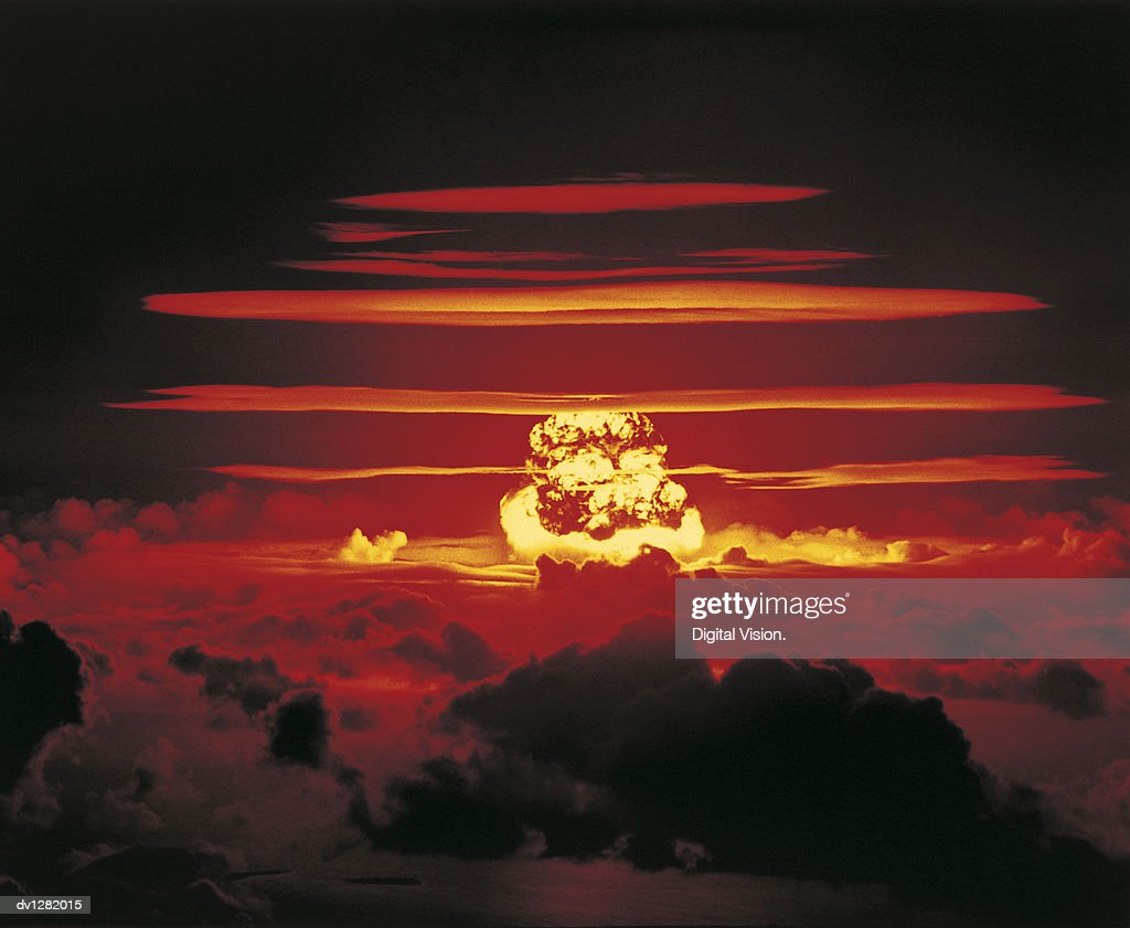 Nuclear Bomb Test, Bikini atoll and Enewetak, June 25 1956 : Stock Photo