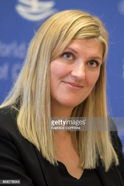 Nuclear disarmament group International Campaign to Abolish Nuclear Weapons executive director Beatrice Fihn smiles during a press conference after...